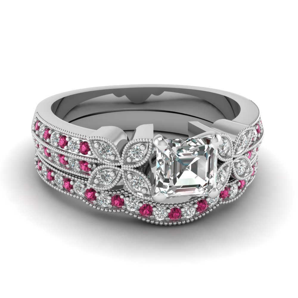 asscher-cut-diamond-milgrain-petal-wedding-set-with-dark-pink-sapphire-in-950-Platinum-FDENS3308ASGSADRPI-NL-WG
