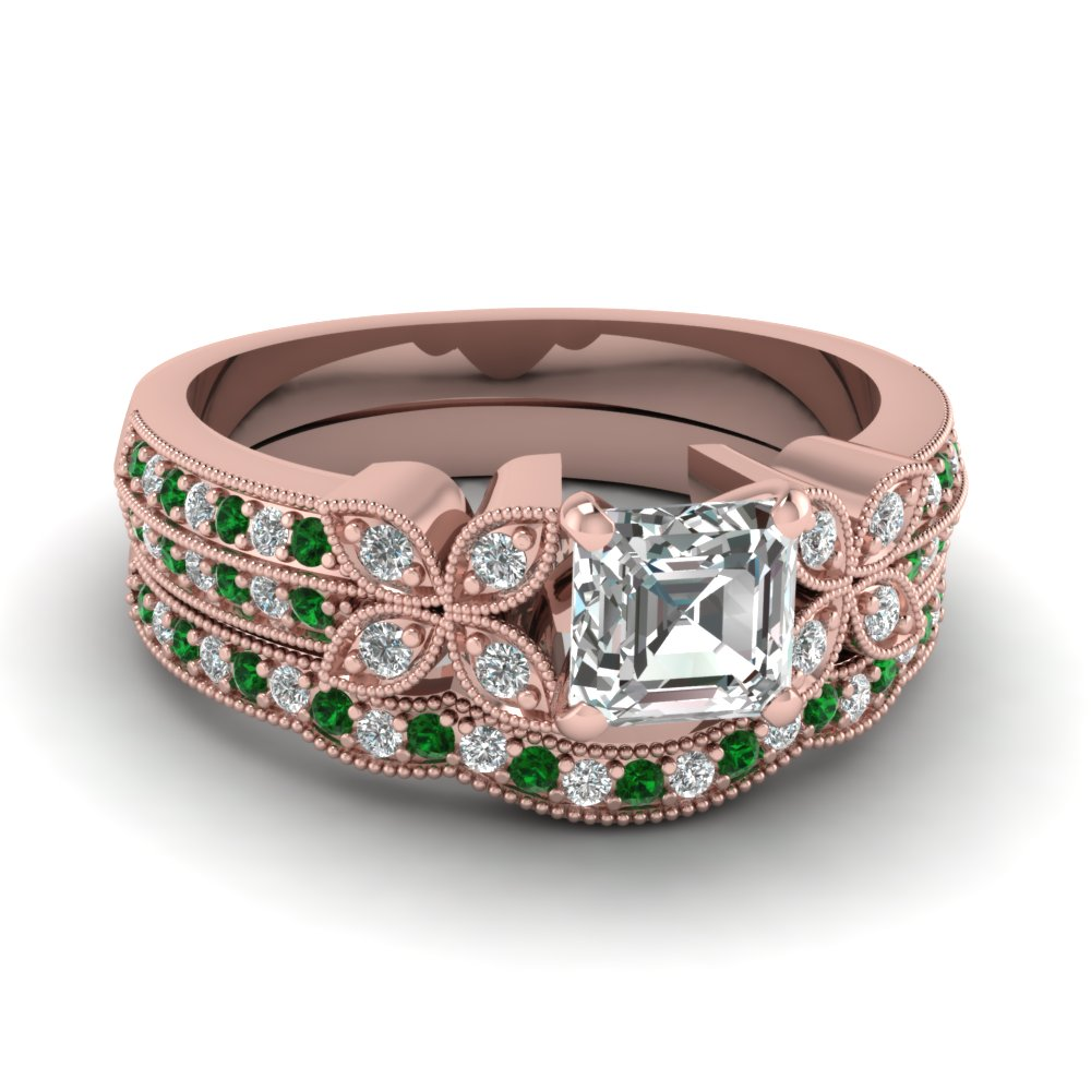 asscher-cut-diamond-milgrain-petal-wedding-set-with-green-emerald-in-14K-rose-gold-FDENS3308ASGEMGR-NL-RG