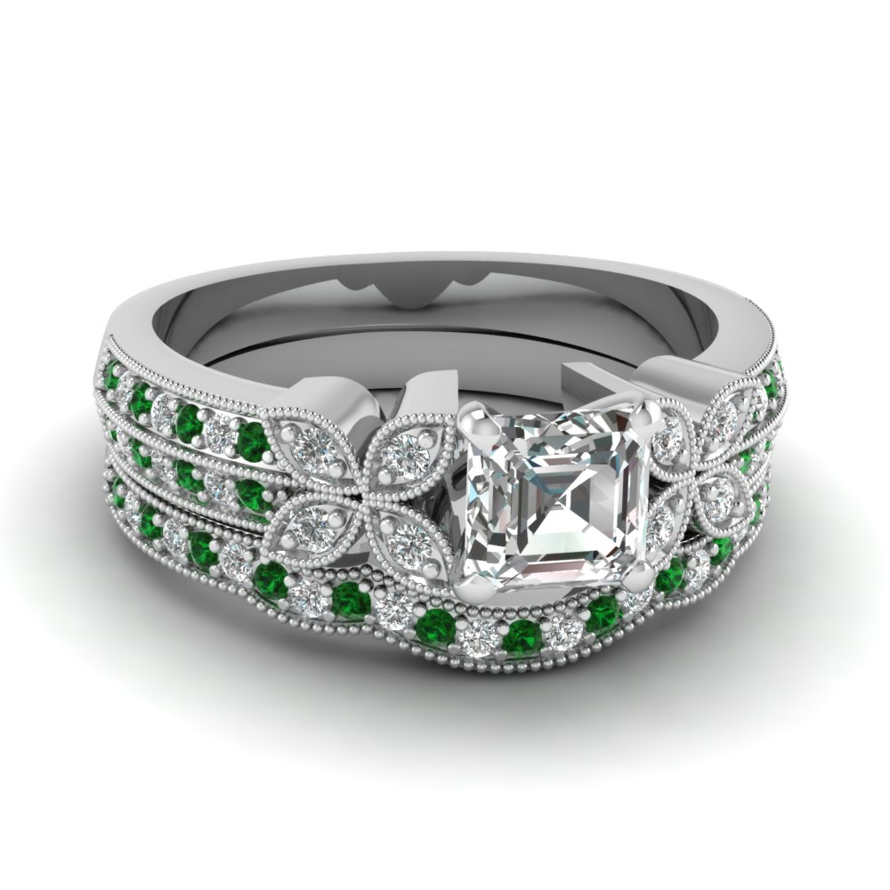 milgrain petal asscher diamond wedding ring set with emerald in FDENS3308ASGEMGR NL WG