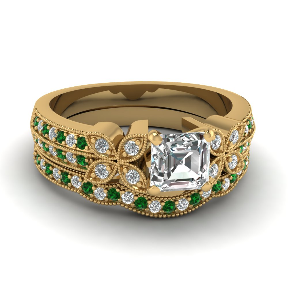 milgrain petal asscher diamond wedding ring set with emerald in FDENS3308ASGEMGR NL YG