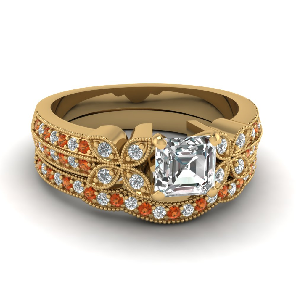 asscher-cut-diamond-milgrain-petal-wedding-set-with-orange-sapphire-in-14K-yellow-gold-FDENS3308ASGSAOR-NL-YG