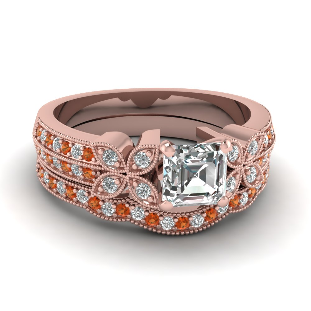 asscher-cut-diamond-milgrain-petal-wedding-set-with-orange-sapphire-in-18K-rose-gold-FDENS3308ASGSAOR-NL-RG