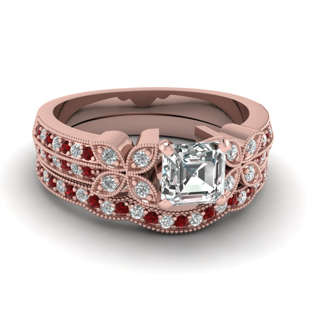 asscher-cut-diamond-milgrain-petal-wedding-set-with-red-ruby-in-14K-rose-gold-FDENS3308ASGRUDR-NL-RG