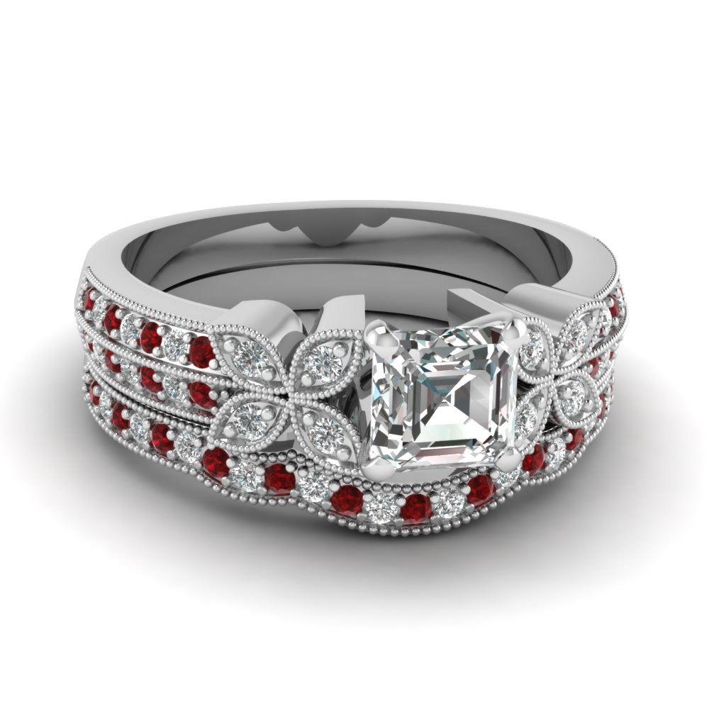 asscher-cut-diamond-milgrain-petal-wedding-set-with-red-ruby-in-14K-white-gold-FDENS3308ASGRUDR-NL-WG