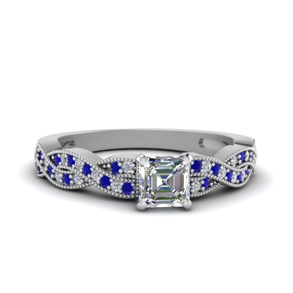 asscher cut diamond milgrain twisted engagement ring with sapphire in FDENS3031ASRGSABL NL WG.jpg