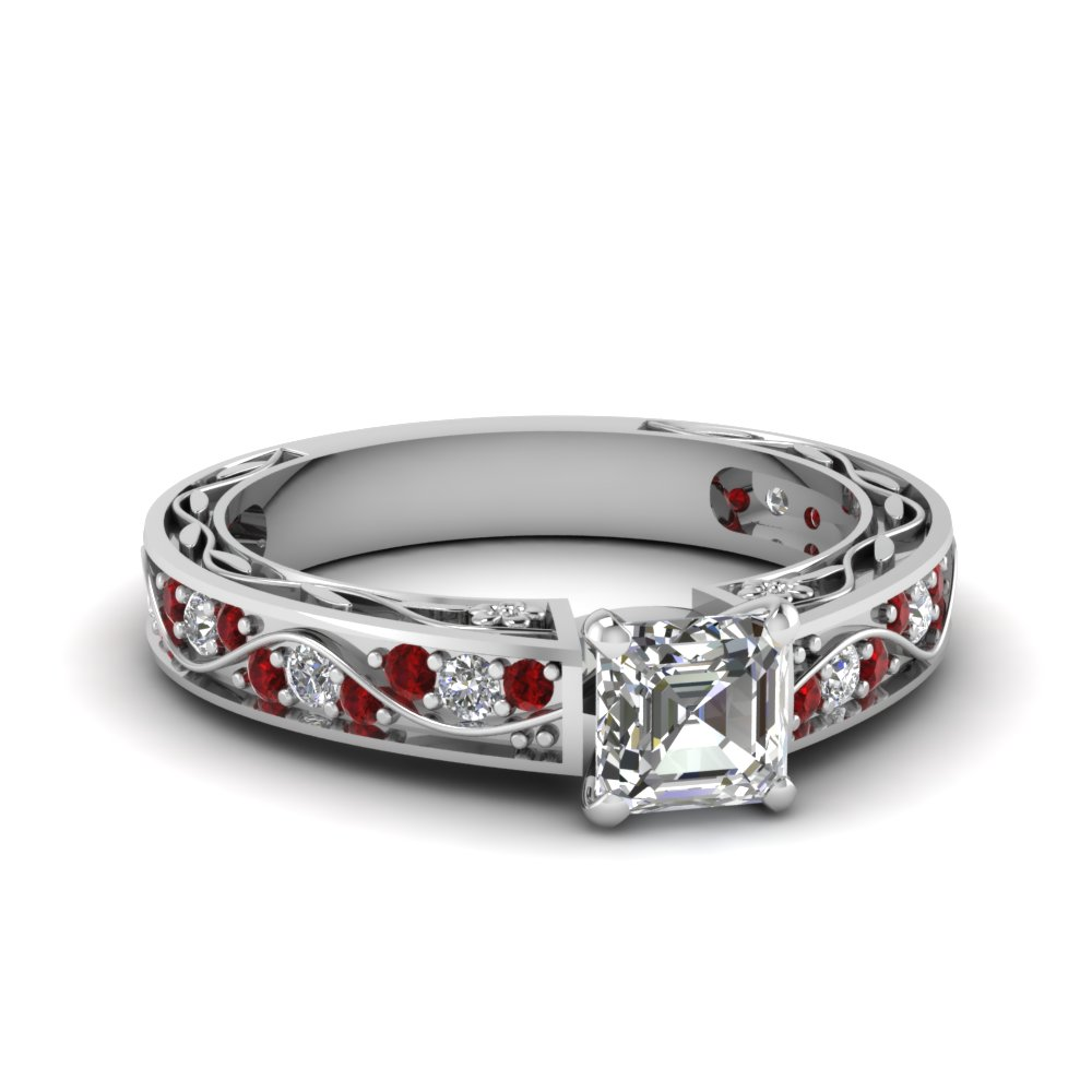 Asscher Cut Diamond Shank Wave Side Stone Engagement Ring With Red Ruby In  14k White Gold