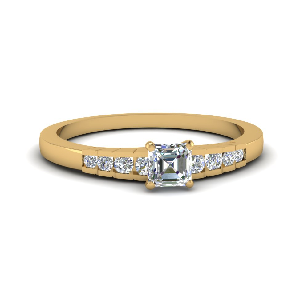 asscher cut diamond graduated accent engagement ring in 14K yellow gold FDENS3116ASR NL YG