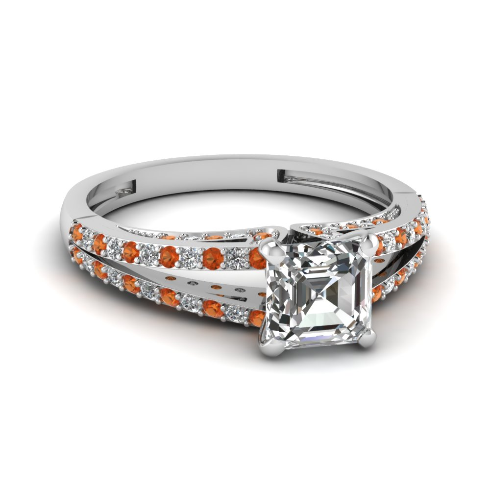 White Gold Orange Sapphire Engagement With Asscher Cut Diamond
