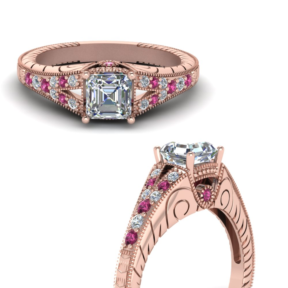 vintage-engraved-split-asscher-cut-diamond-engagement-ring-with-pink-sapphire-in-FDENR6798ASRGSADRPIANGLE3-NL-RG