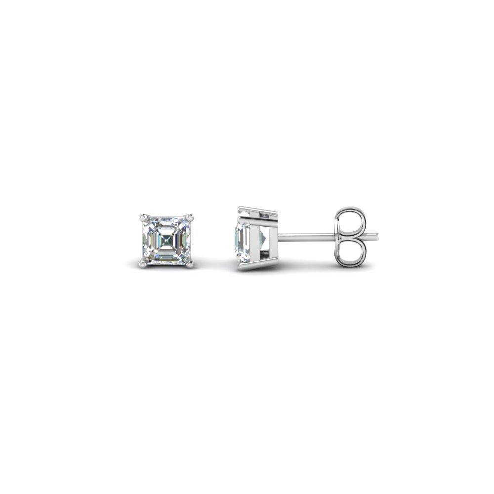 21f221bfb Asscher Cut Diamond Stud Earrings In 14K White Gold | Fascinating ...