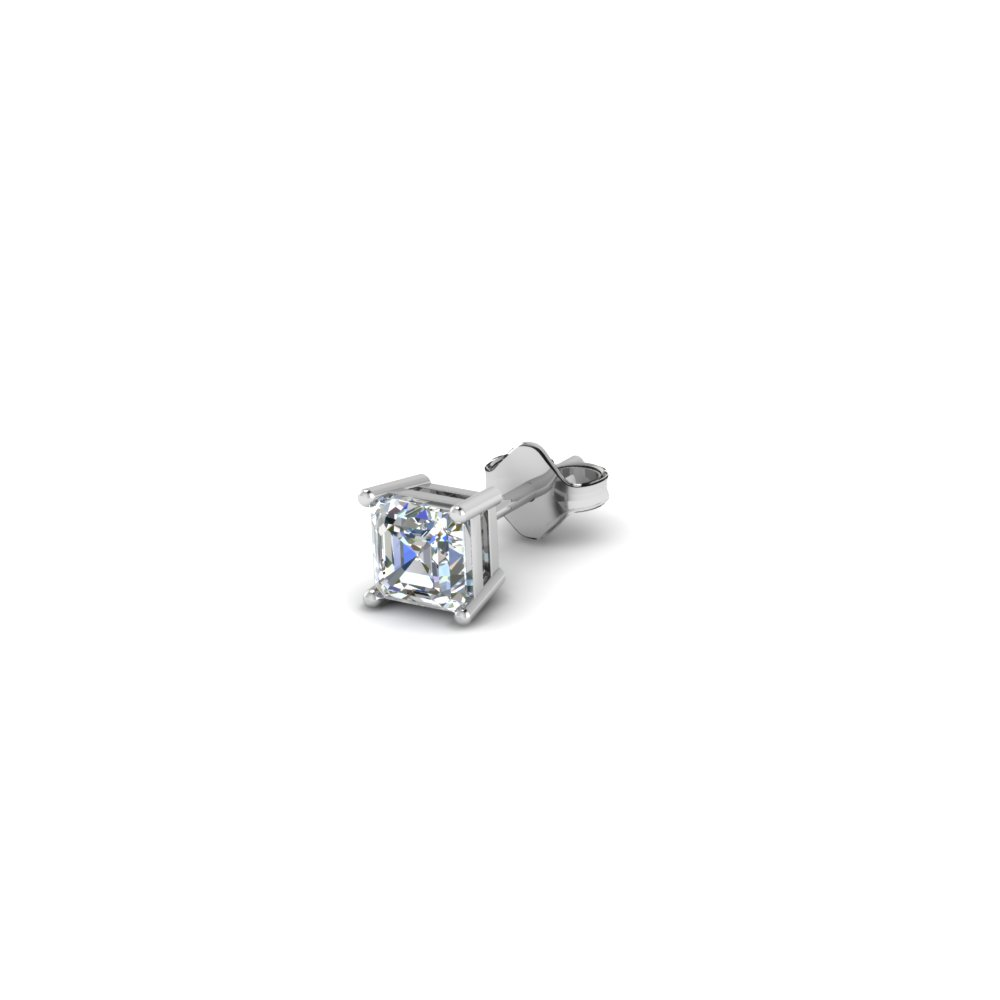 asscher cut diamond stud mens earrings in 14K white gold FDMS4AS25CT NL WG