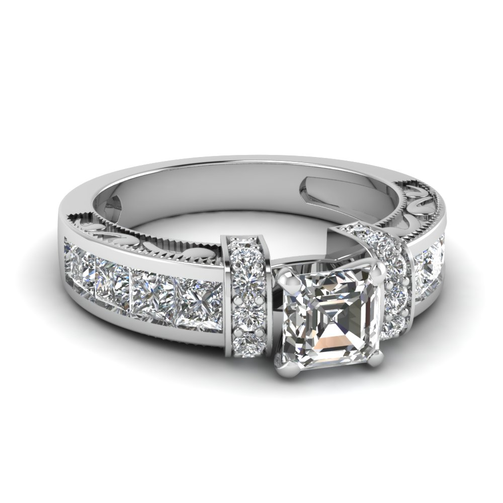 asscher cut diamond symphony vintage engagement ring in 14K white gold FDENR1810ASR NL WG