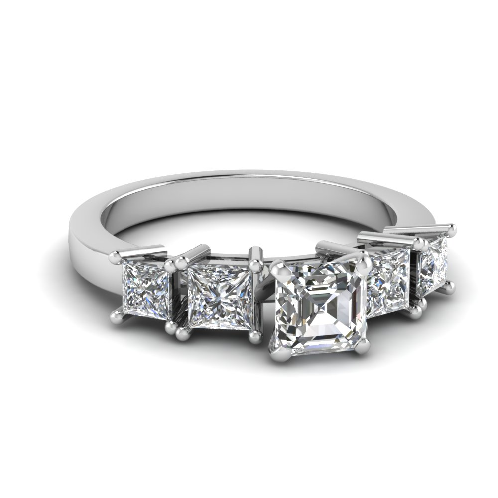 Asscher Cut Diamond With Side Stone Engagement Ring