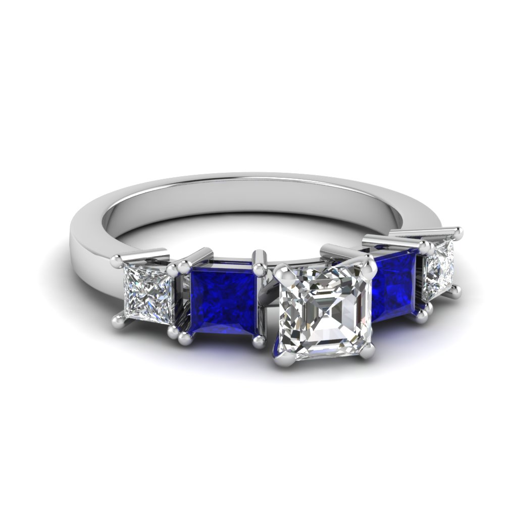 Asscher Cut Engagement Ring With Blue Sapphire Side Stones