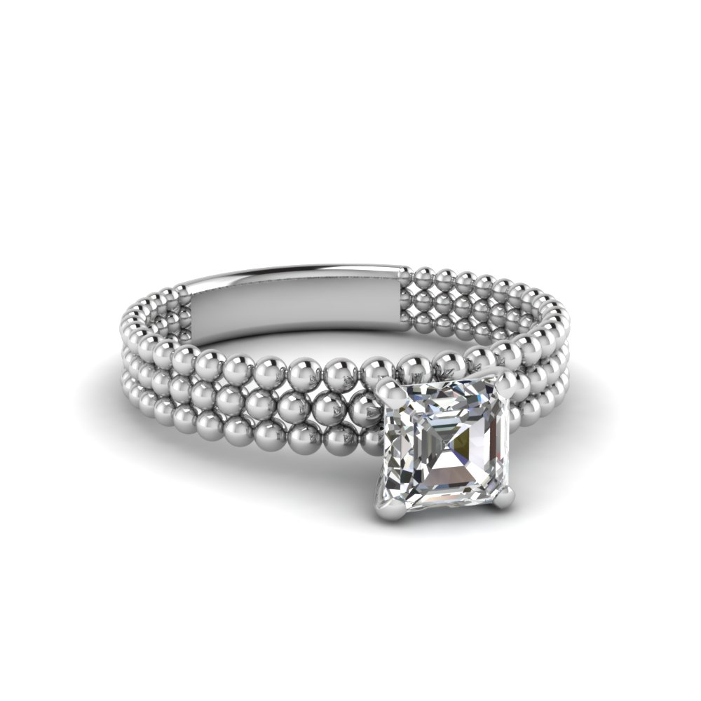 Beaded Asscher Solitaire Ring