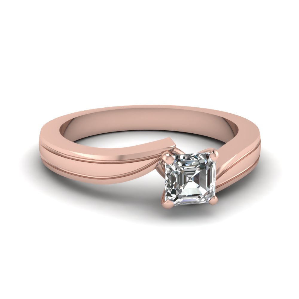 asscher cut twisted solitaire engagement ring in 14K rose gold FDENR6677ASR NL RG