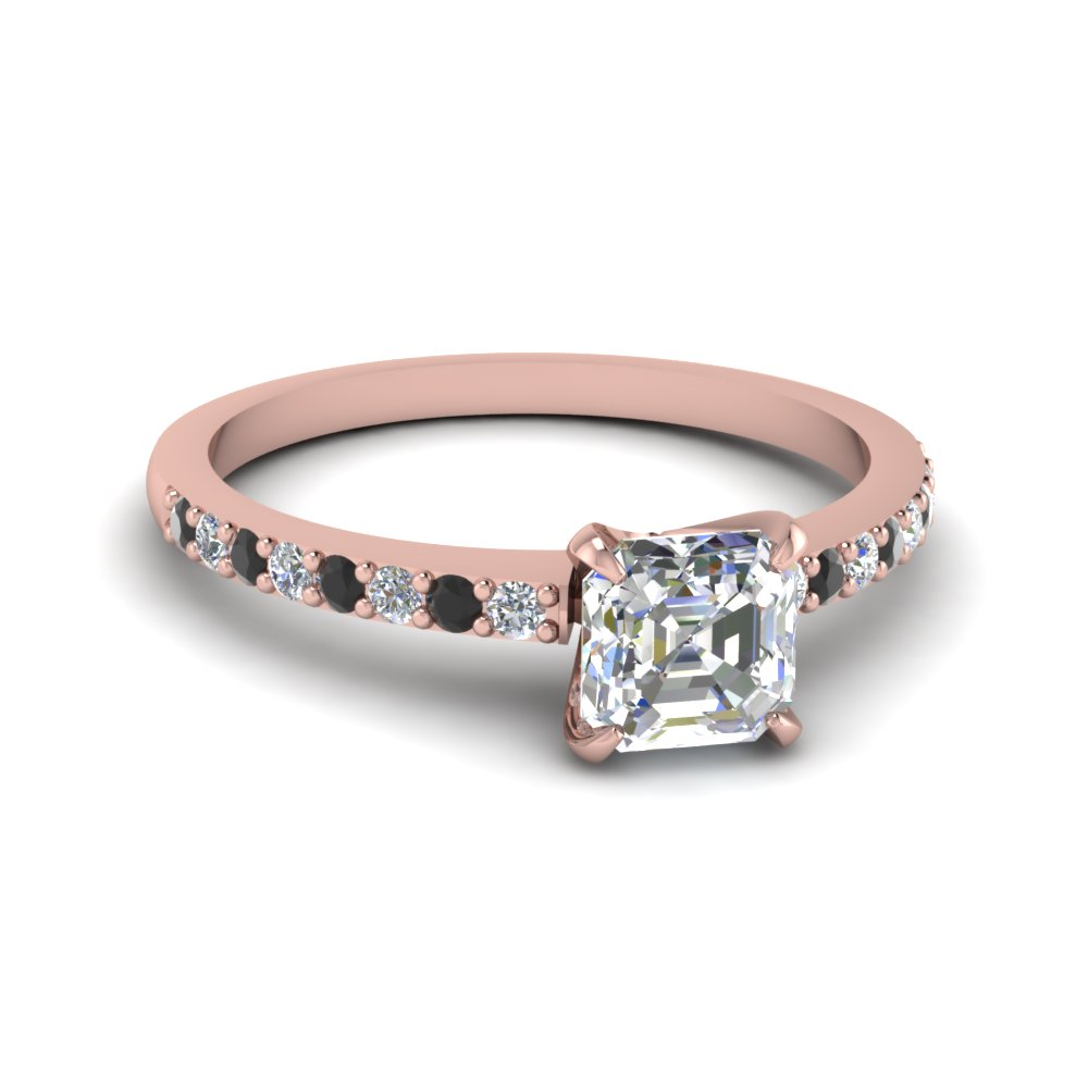 Rose Gold Asscher Cut Petite Rings