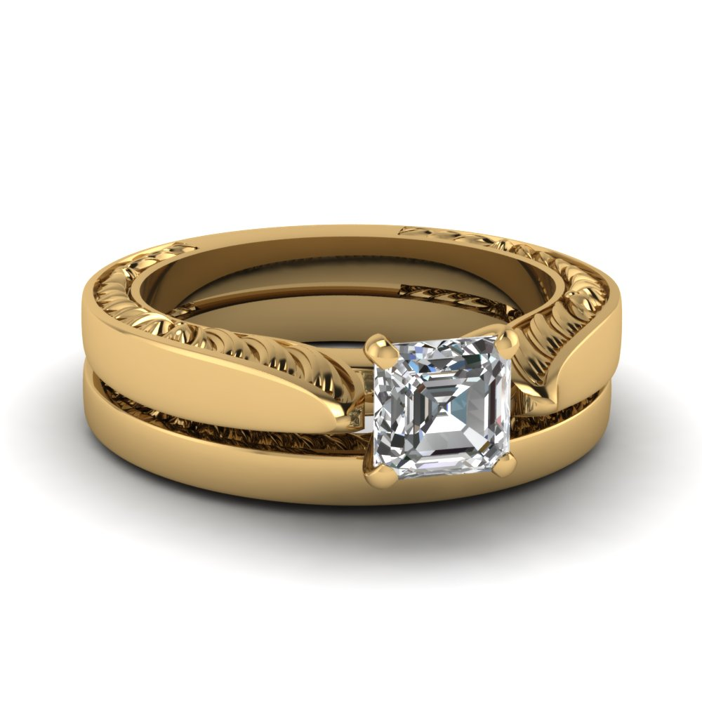 Plain Asscher Wedding Ring Set