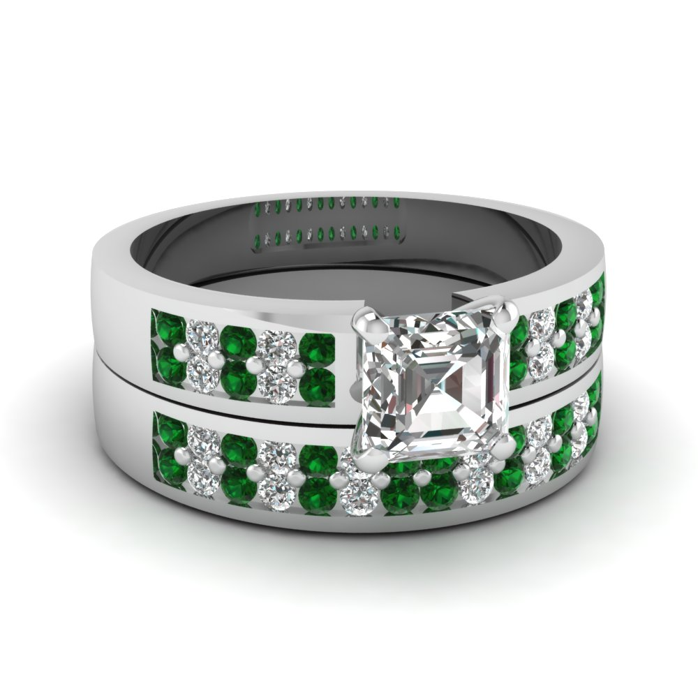 asscher cut 2 row diamond flat wedding ring set with emerald in FDENS3118ASGEMGR NL WG