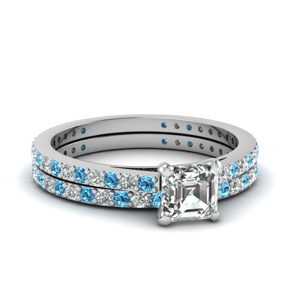 Asscher cut petite diamond wedding ring set with blue for Blue topaz wedding ring sets