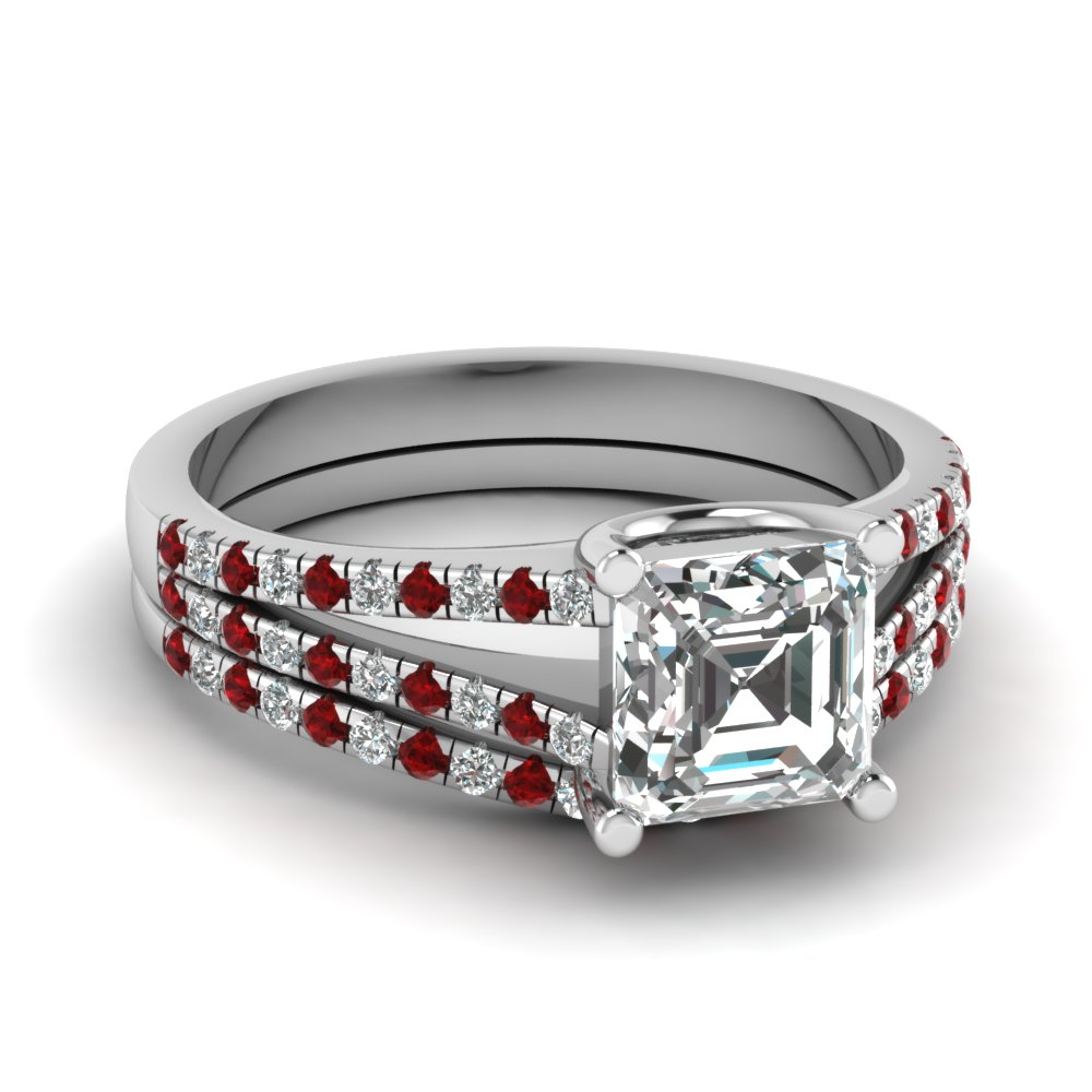 asscher cut diamond wedding ring set with red ruby in 14K white gold FDENS1748ASGRUDR NL WG