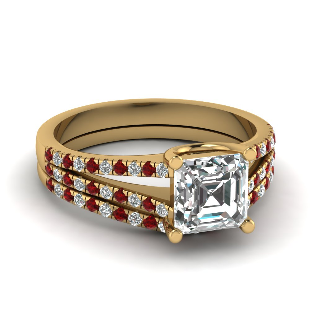 asscher cut diamond wedding ring set with red ruby in 14K yellow gold FDENS1748ASGRUDR NL YG