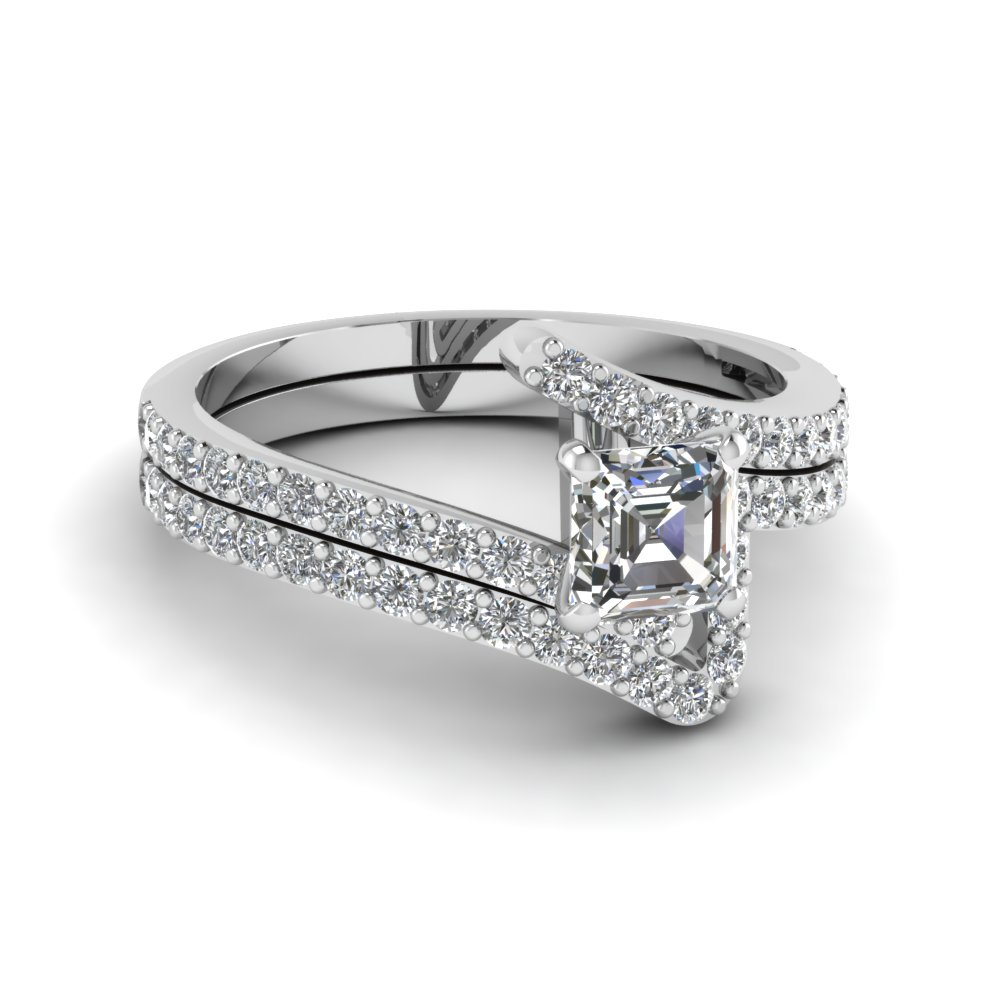 bypass asscher cut diamond bridal ring set in FDENS3007AS NL WG