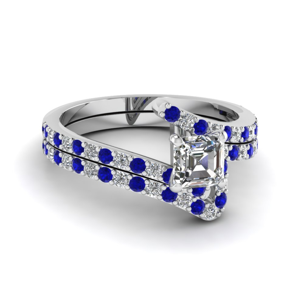 Zig Zag Blue Sapphire Wedding Ring Set