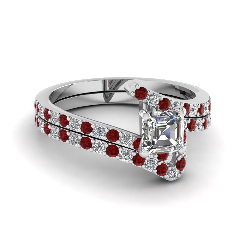 bypass asscher cut diamond bridal ring set with ruby in FDENS3007ASGRUDR NL WG