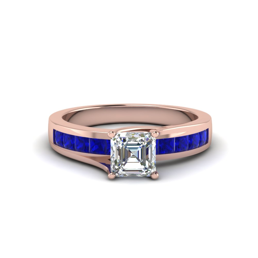 asscher cut diamond with gemstone accent ring with blue sapphire in FDENR7776ASRGSABL NL RG GS
