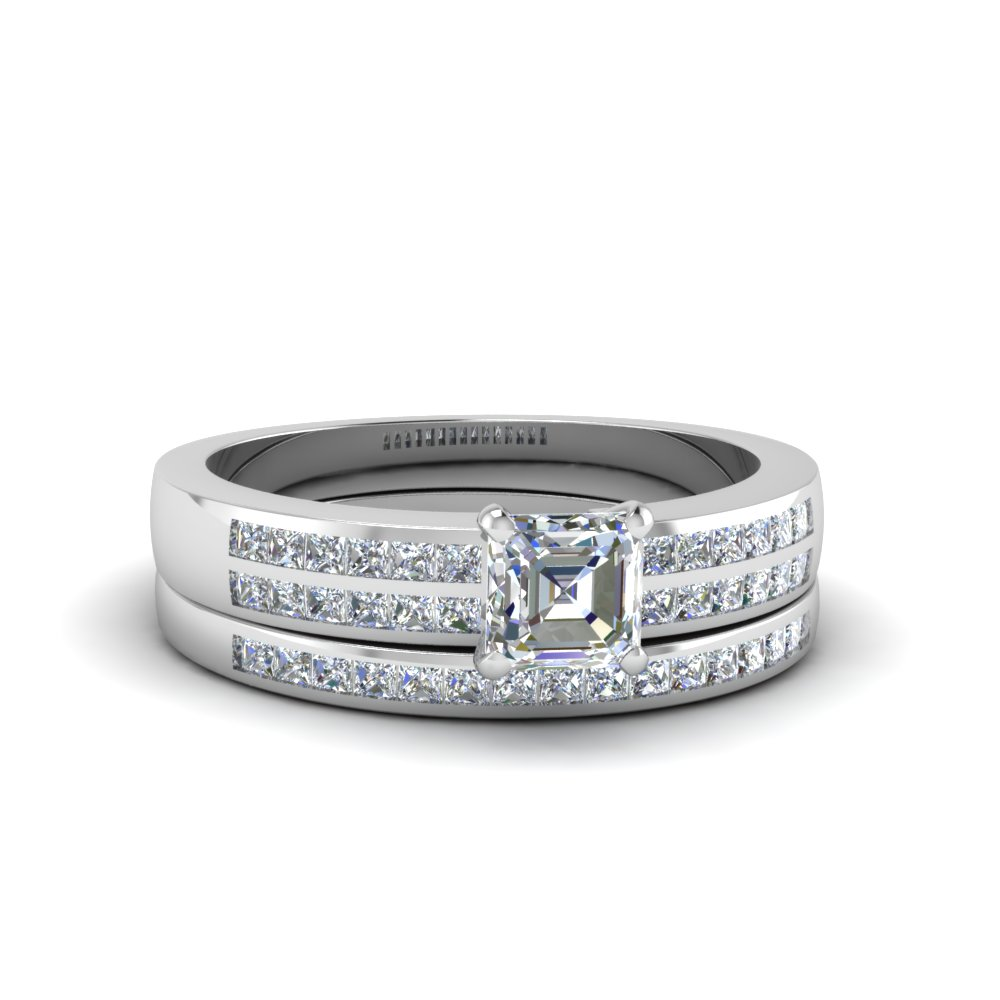 asscher cut double row channel diamond wide bridal set in 14K white gold FDENS3122AS NL WG
