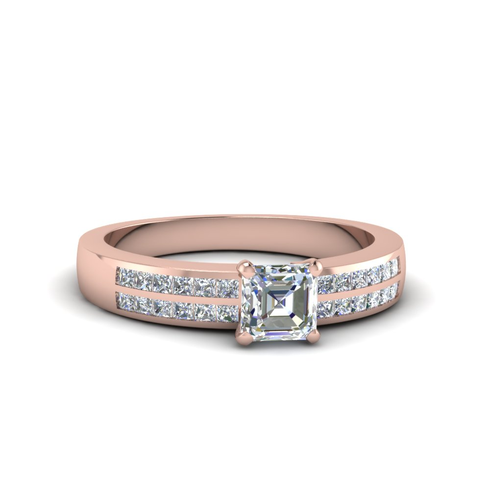 asscher cut double row channel diamond wide ring in 14K rose gold FDENS3122ASR NL RG
