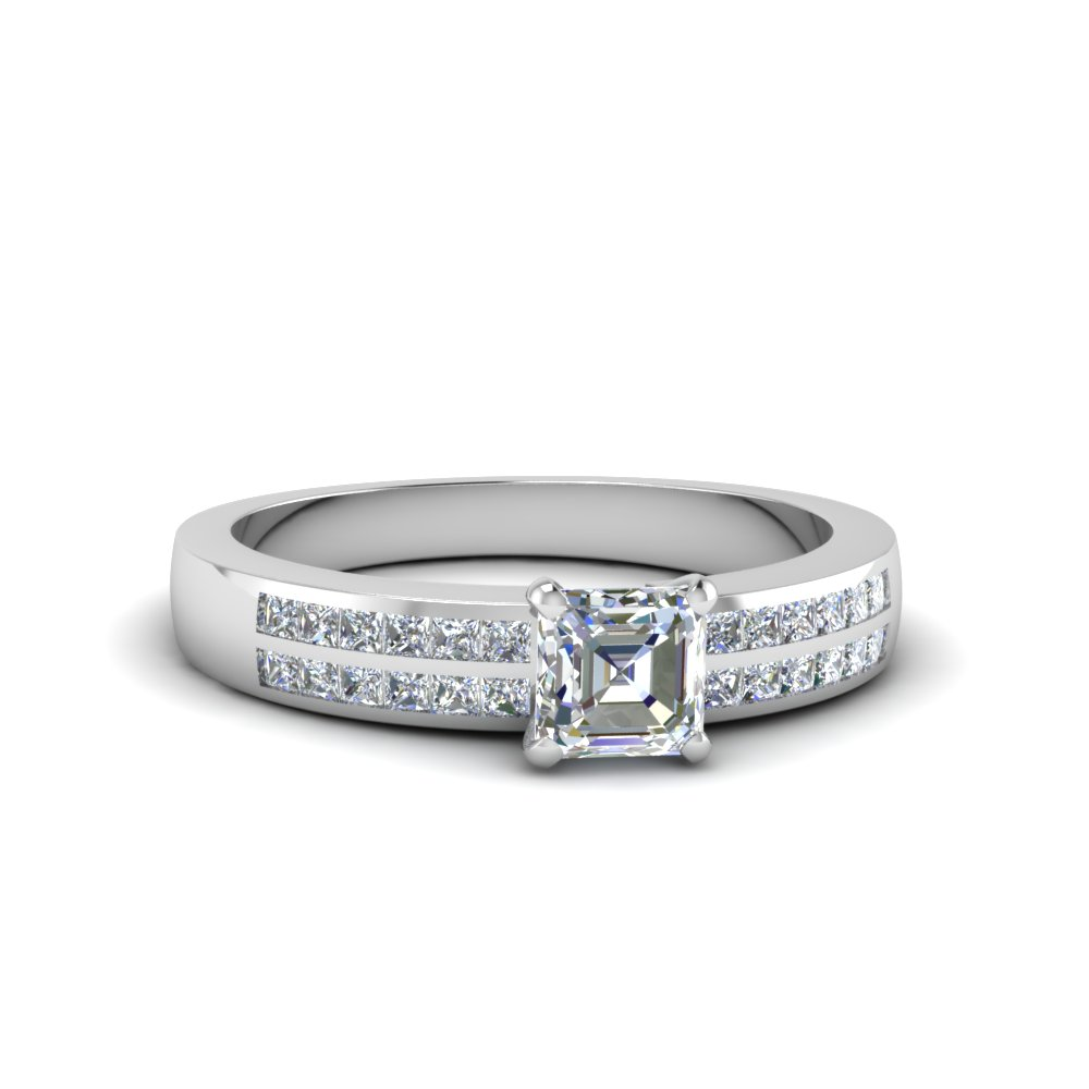 asscher cut double row channel diamond wide ring in FDENS3122ASR NL WG