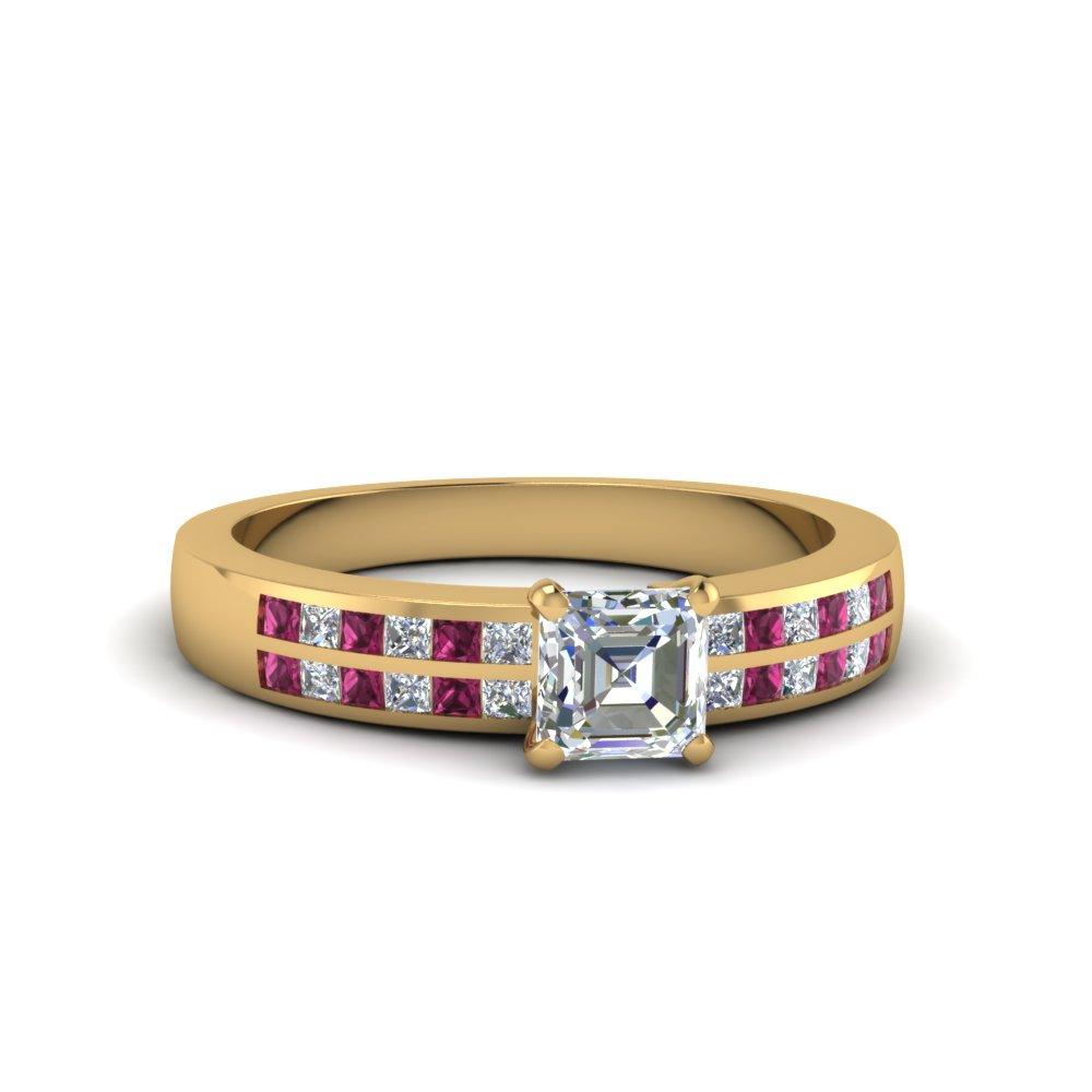 asscher cut double row channel moissanite wide ring with pink sapphire in 14K yellow gold FDENS3122ASRGSADRPI NL YG