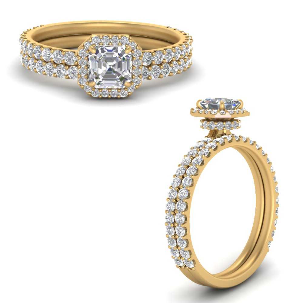 asscher-cut-double-under-halo-micropave-lab diamond wedding-rings-set-in-FD9654ASANGLE3-NL-YG