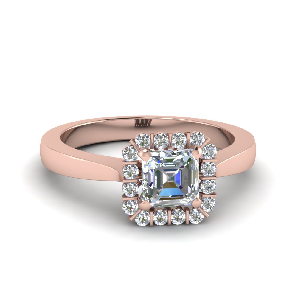 Floating Asscher Halo Diamond Ring