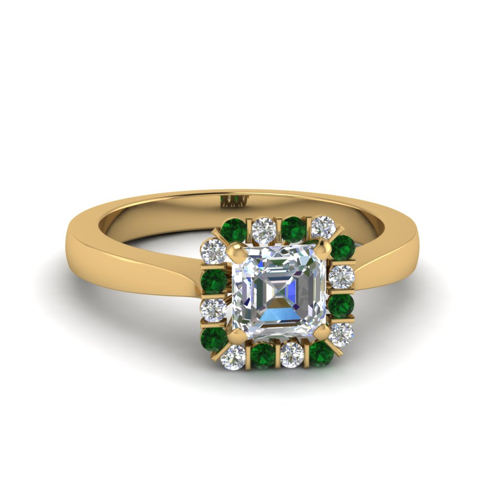 asscher cut floating halo diamond engagement ring with emerald in FDENS3257ASRGEMGR NL YG