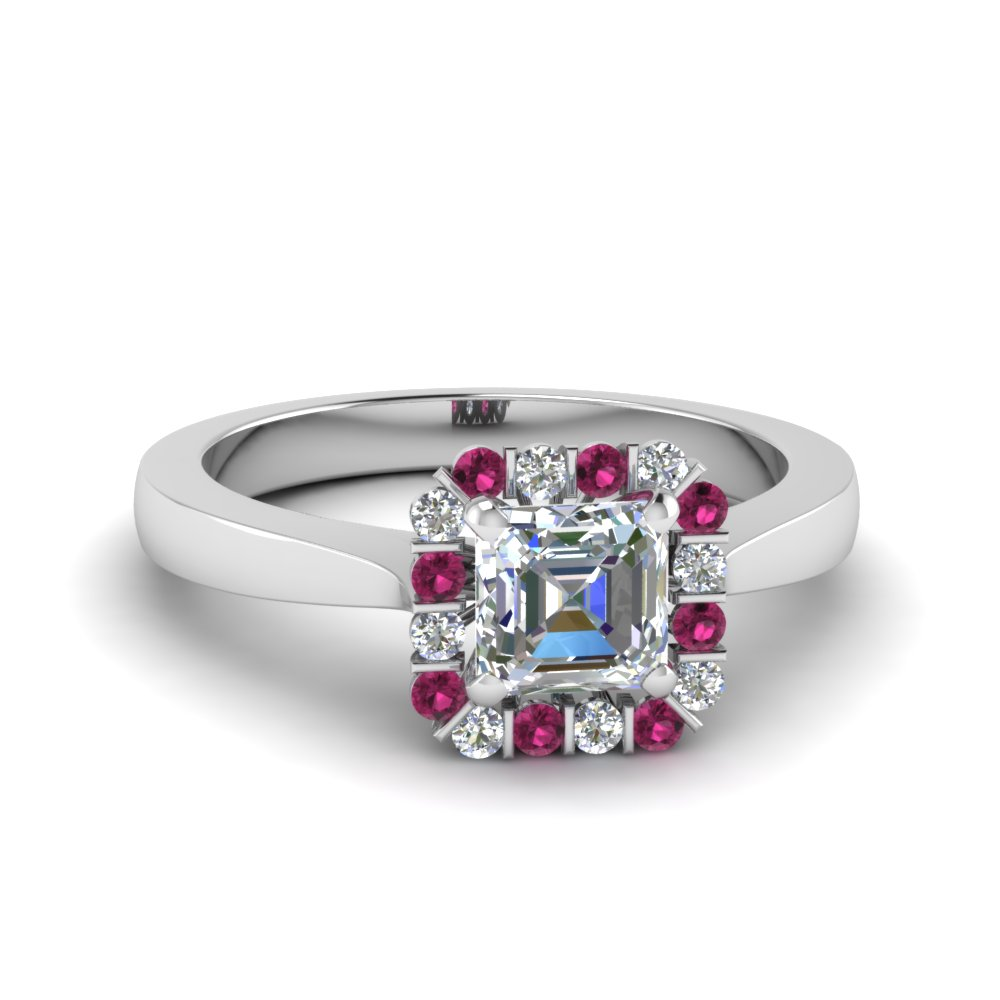 Floating Halo Pink Sapphire Ring