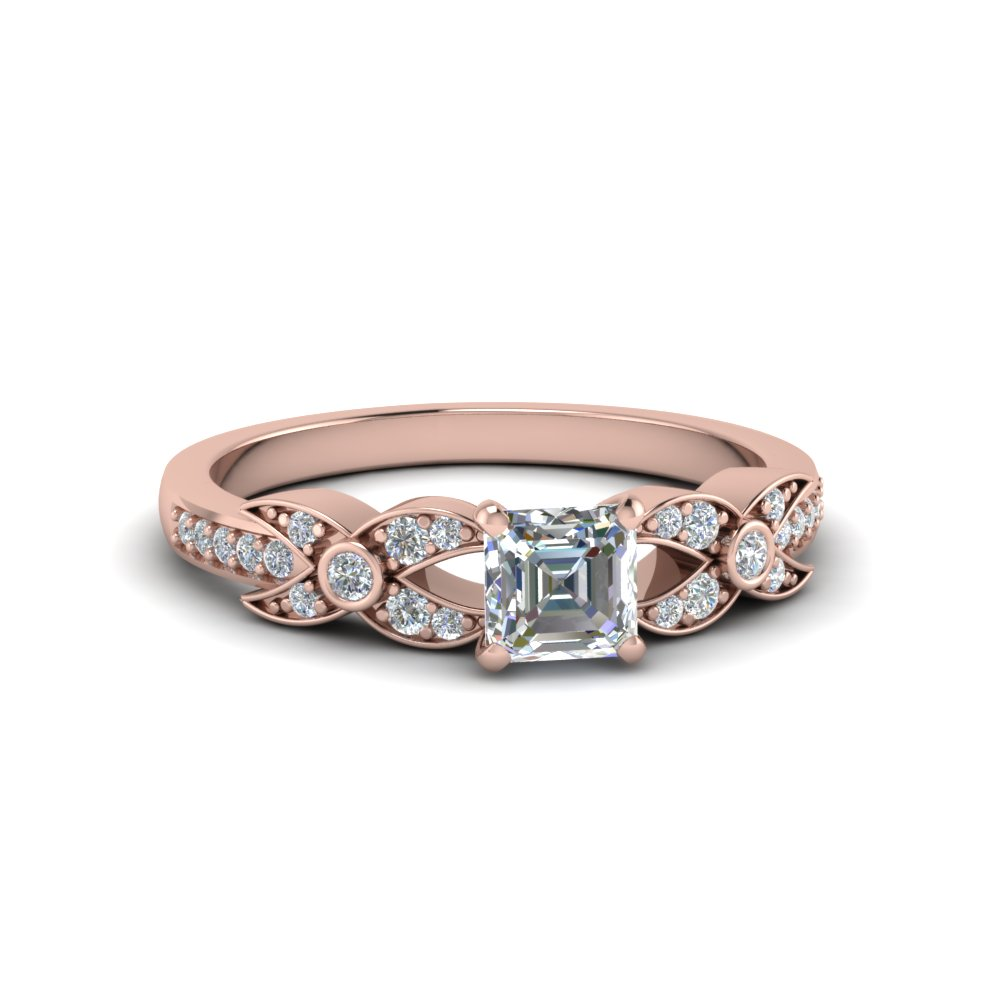 asscher cut flower pave diamond ring in 14K rose gold FDENS3322ASR NL RG