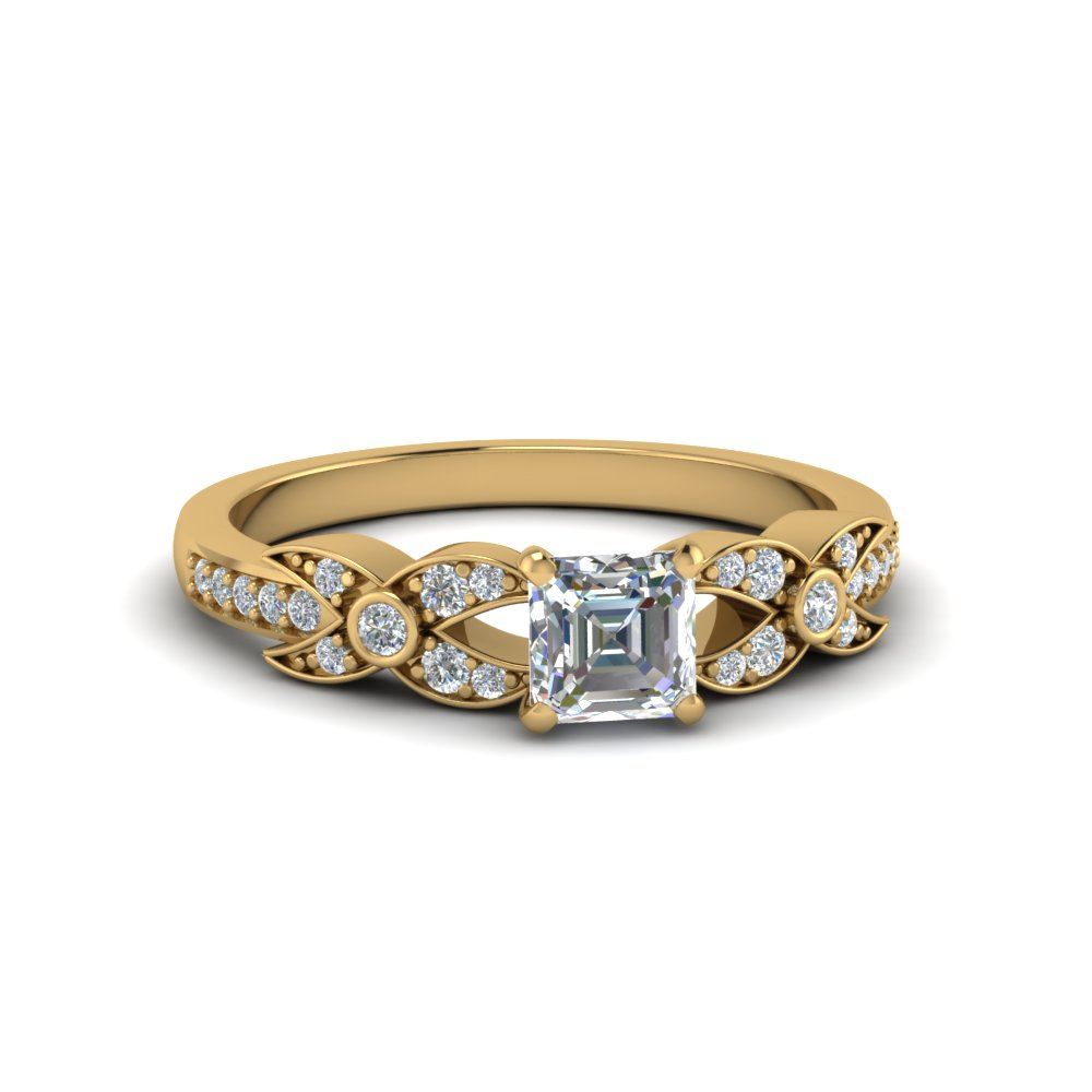 asscher cut flower pave diamond ring in 14K yellow gold FDENS3322ASR NL YG
