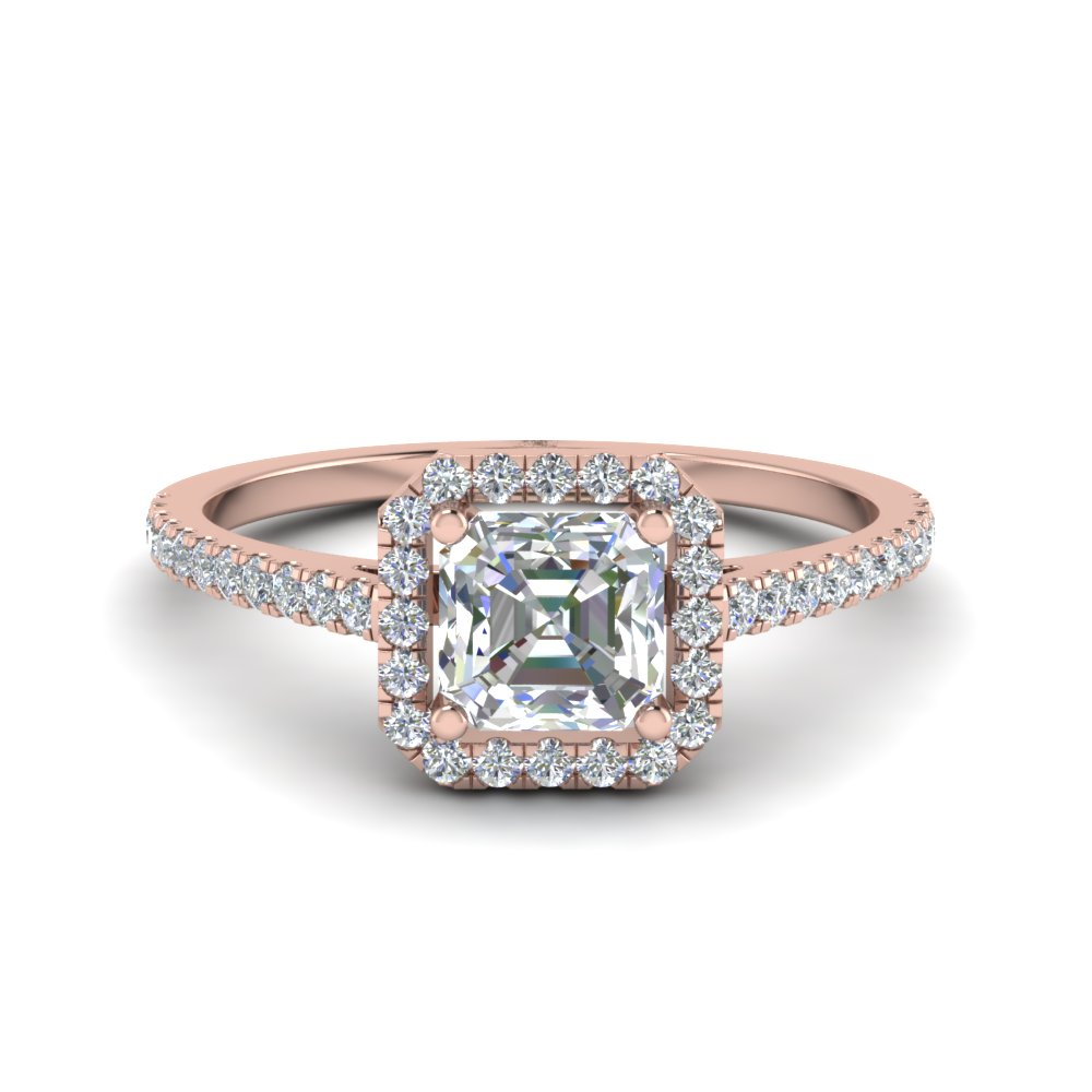 Asscher Halo Diamond Ring