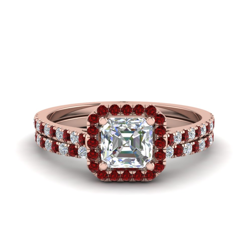 French Pave Halo Ruby Ring Set