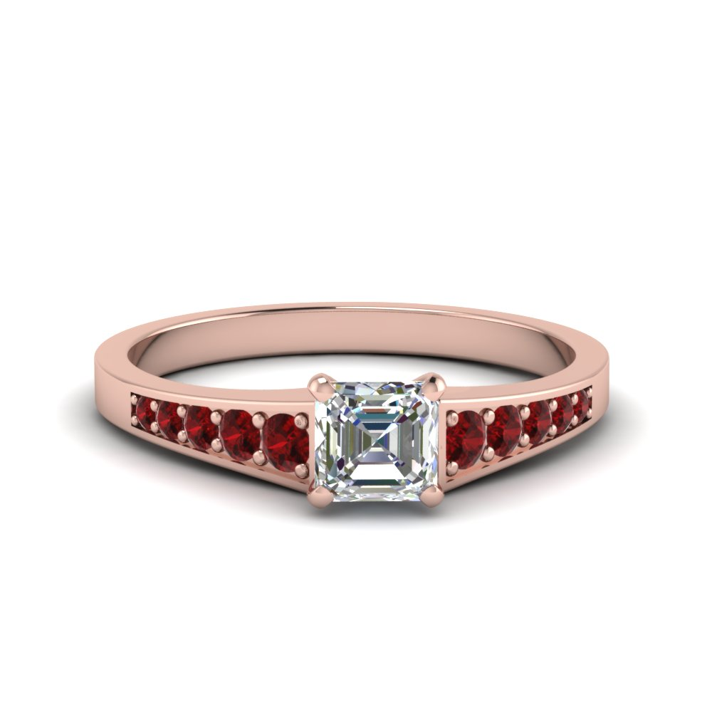 Pave Diamond Ring With Ruby