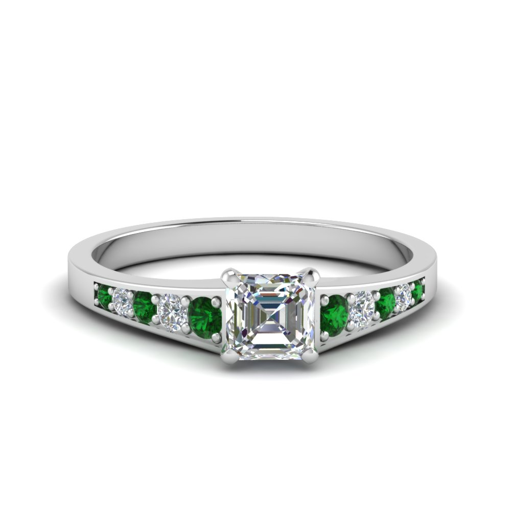 asscher cut graduated pave accent diamond engagement ring with emerald in FD8048ASRGEMGR NL WG