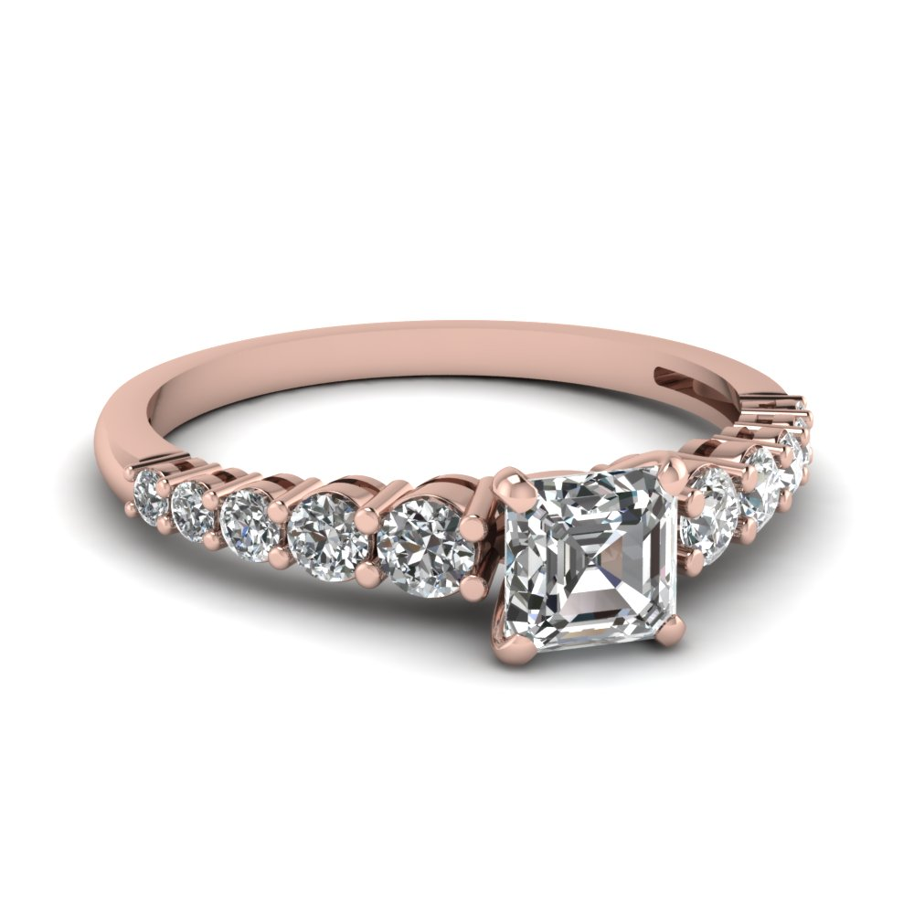 Graduated Rose Gold Diamond Ring