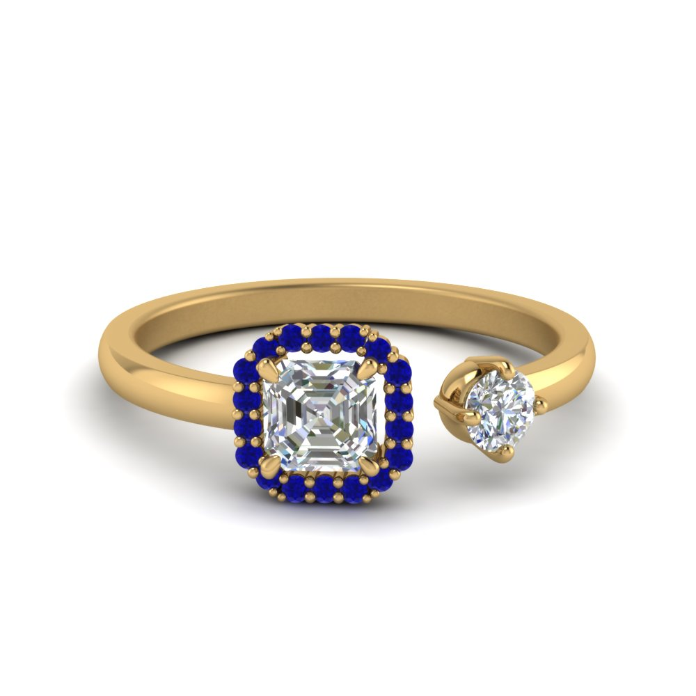 asscher cut halo diamond open engagement ring with blue sapphire in 14K yellow gold FD71903ASRGSABL NL YG GS