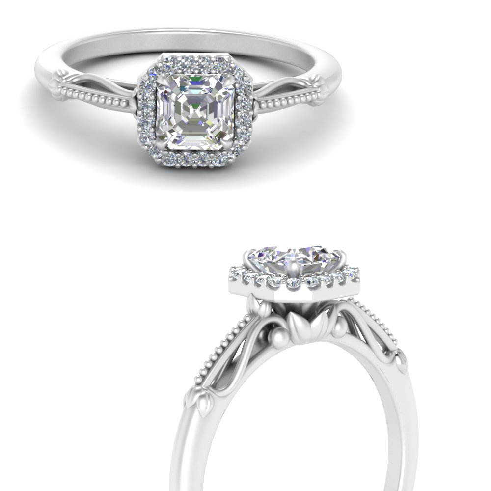 asscher cut halo floral shank diamond engagement ring in white gold FD124330ASRANGLE3 NL WG