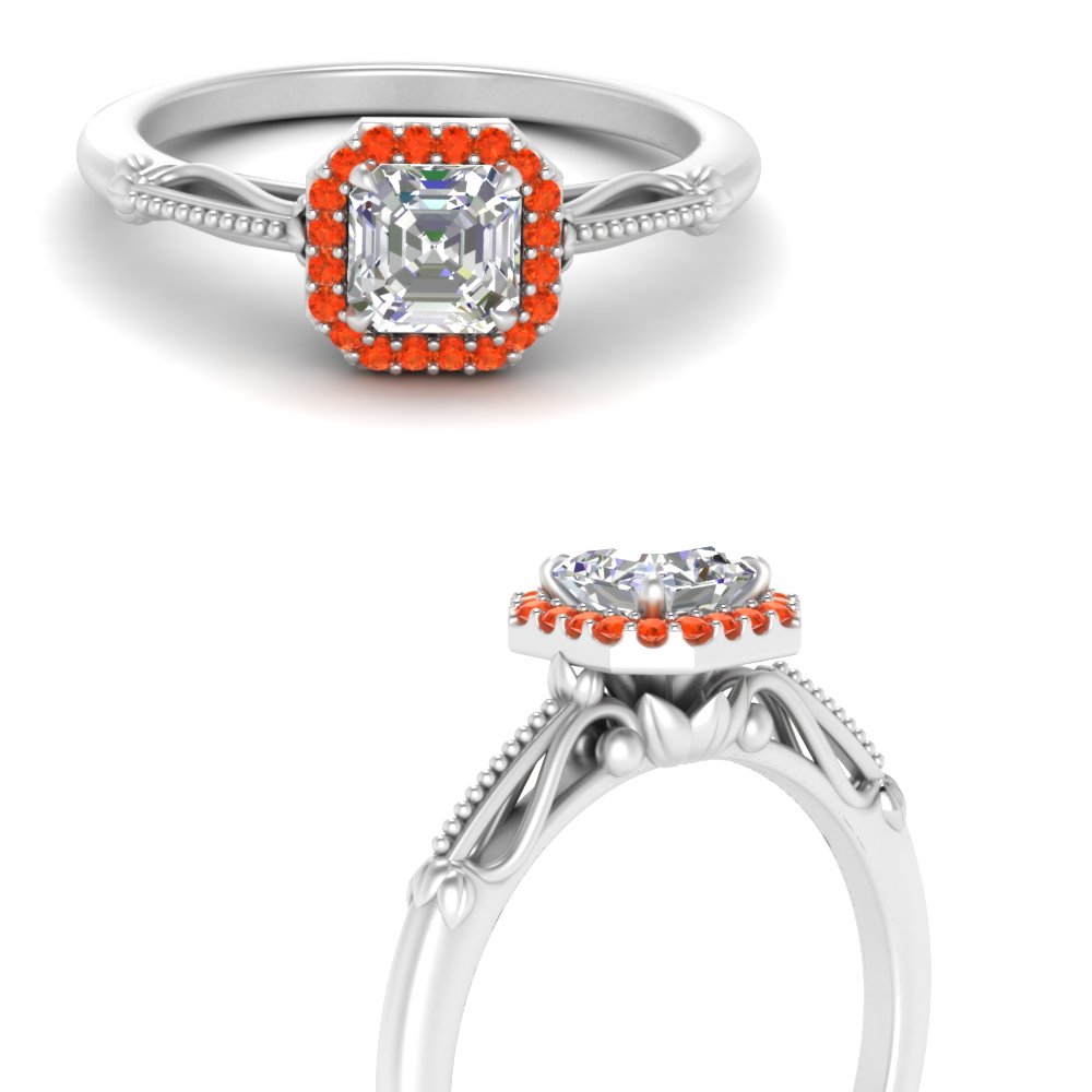 asscher cut halo floral shank orange topaz moissanite engagement ring in white gold FD124330ASRGPOTOANGLE3 NL WG