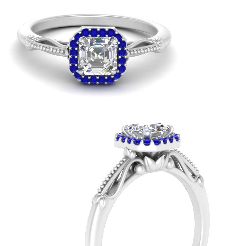 asscher cut halo floral shank sapphire lab diamond engagement ring in white gold FD124330ASRGSABLANGLE3 NL WG