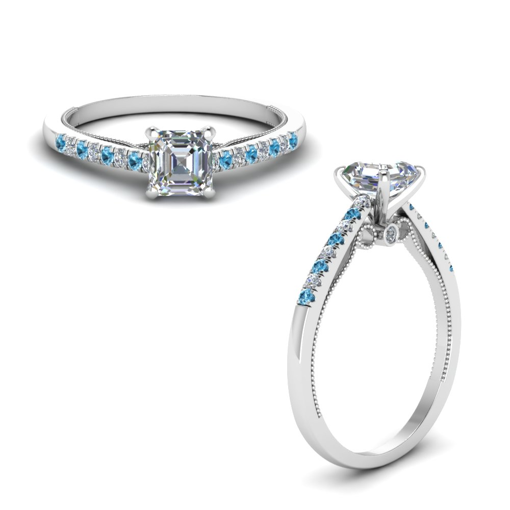 asscher cut high set milgrain diamond engagement ring with blue topaz in FDO50845ASRGICBLTOANGLE1 NL WG